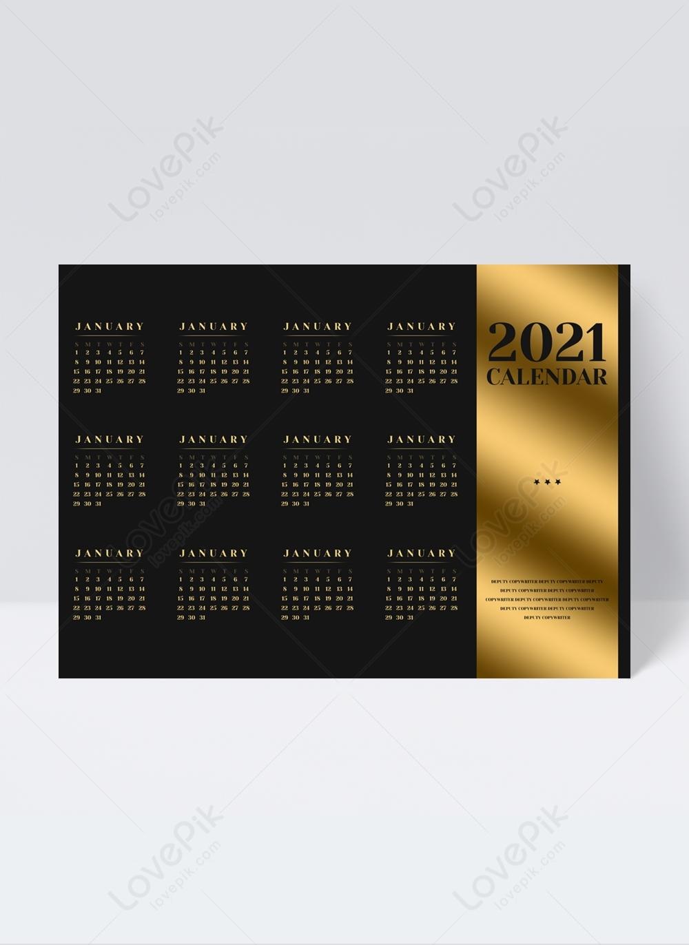 Luxury Classic Black And Gold Color Scheme 2021 Calendar Календарь Декабрь Схема2021