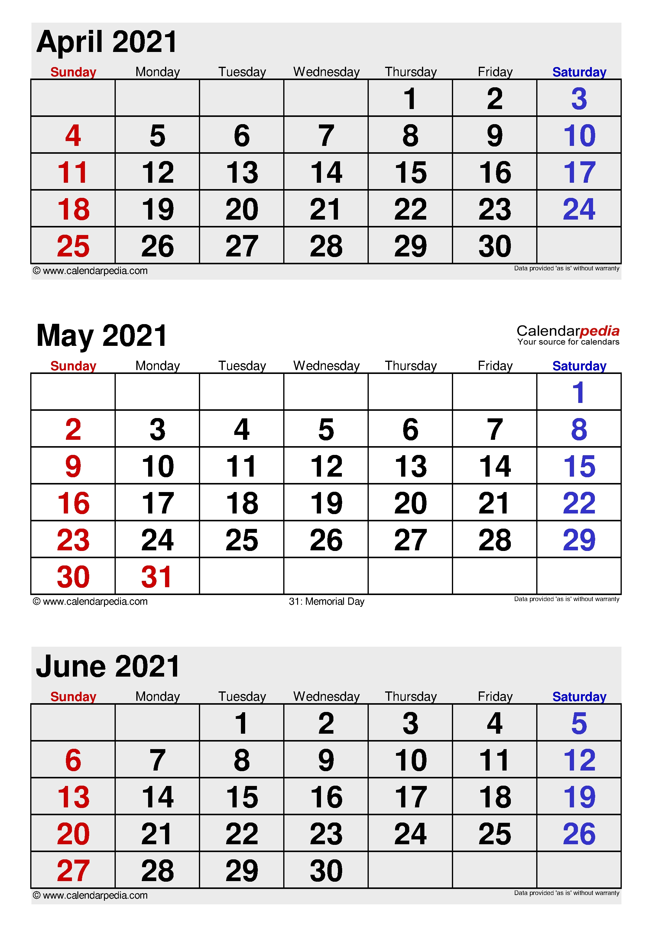 May 2021 Calendar | Templates For Word, Excel And Pdf 3 Month Calendar 2021