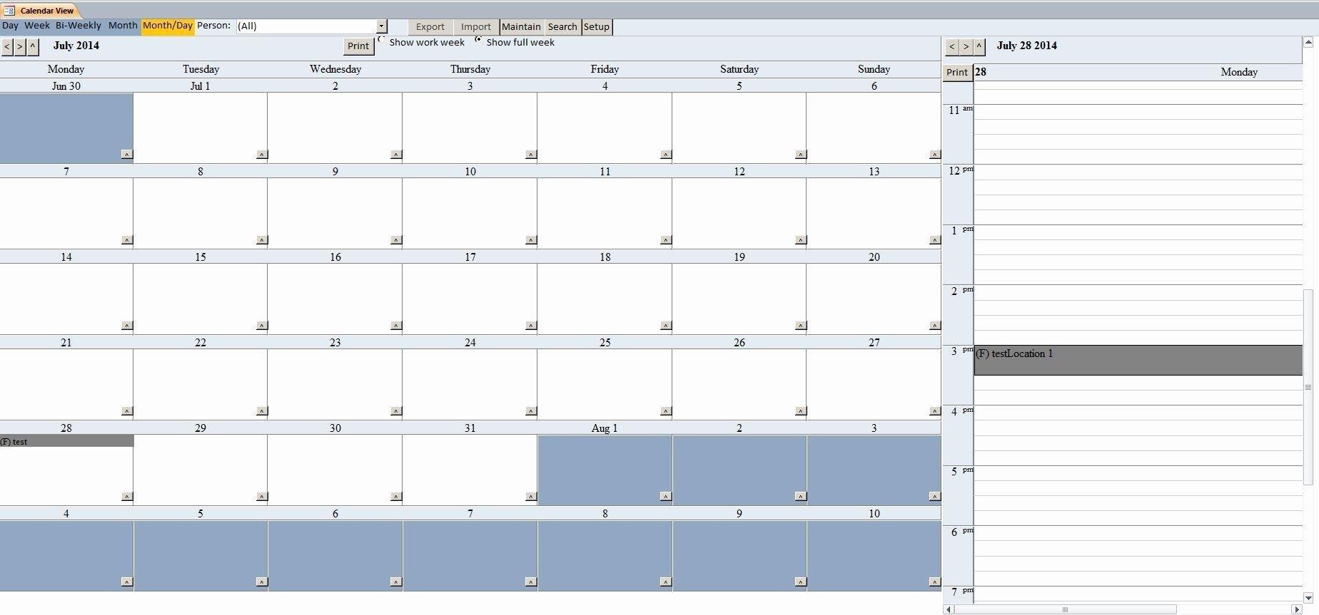 Microsoft Access Schedule Template Inspirational Enhanced Access Calendar Report Template