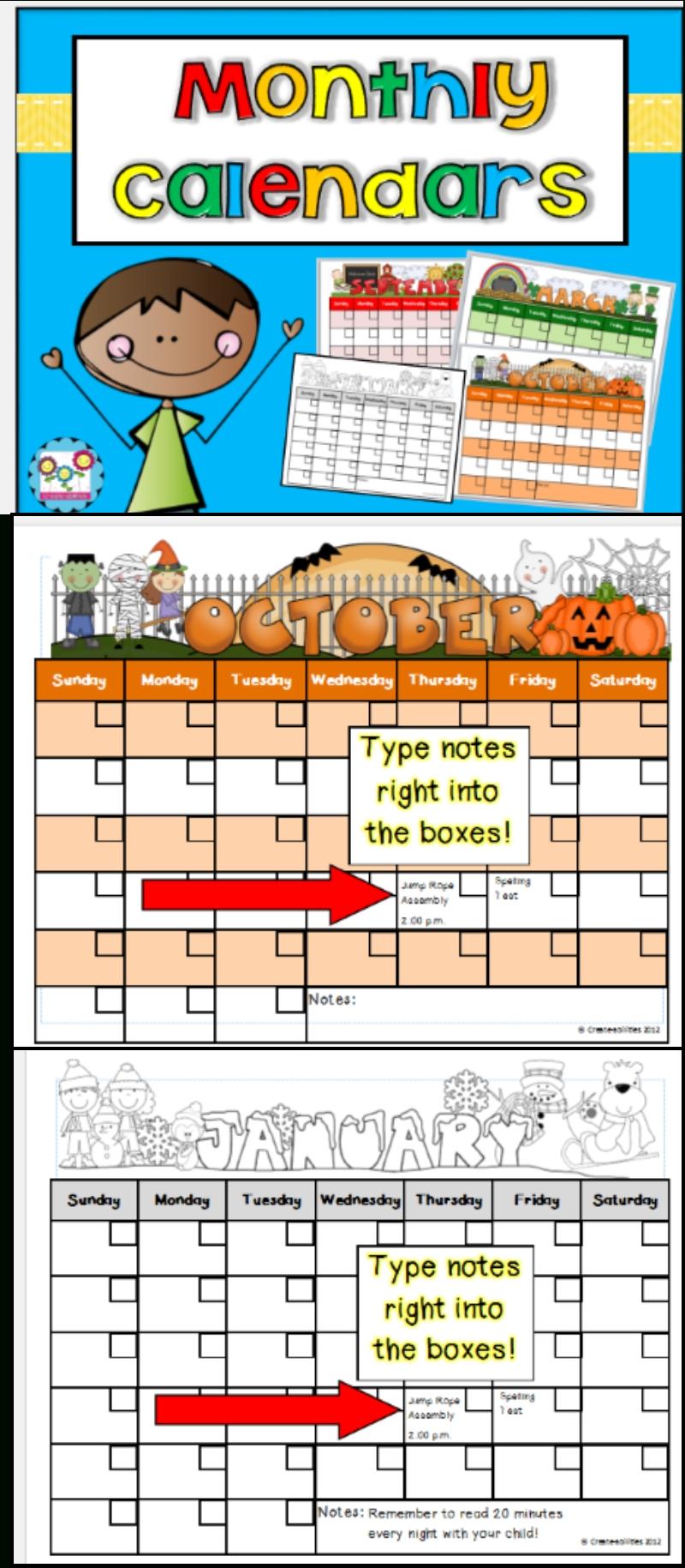 Monthly Calendar Templates Editable | Classroom Calendar Pre K Calendar Template