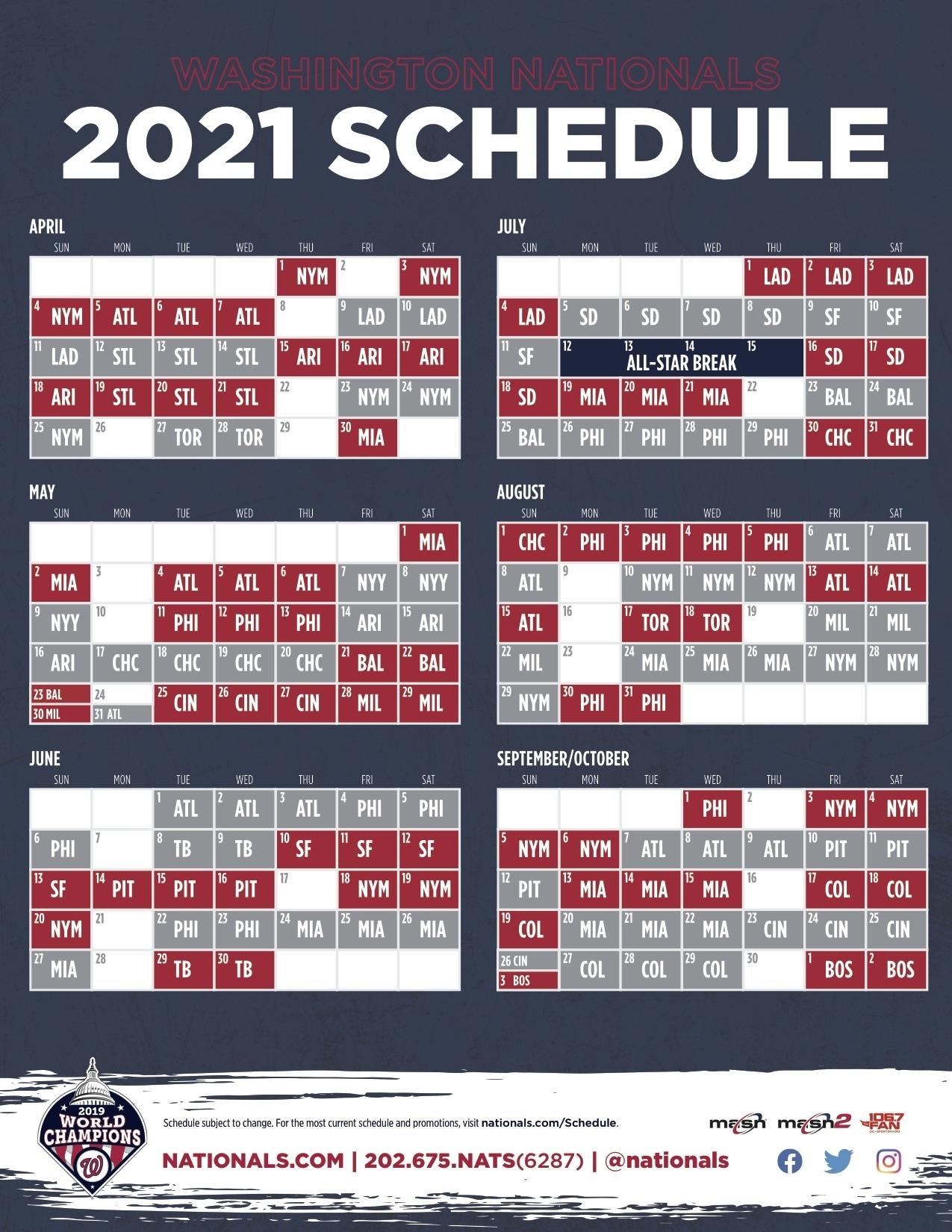 Nationals Announce 2021 Schedule - Masn News & Information Atlanta Braves Printable Schedule Calendar 2021