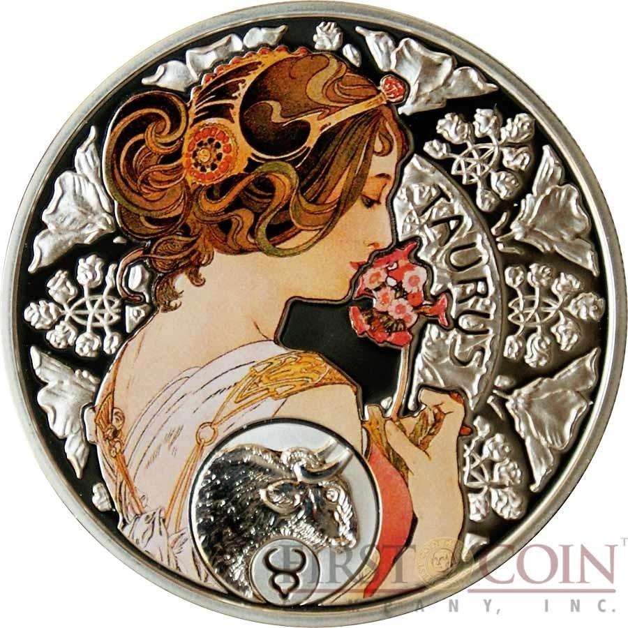 Niue Island Taurus $1 Painter Alphonse Mucha Zodiac Series Zodiac Calendar By Alphonse Mucha