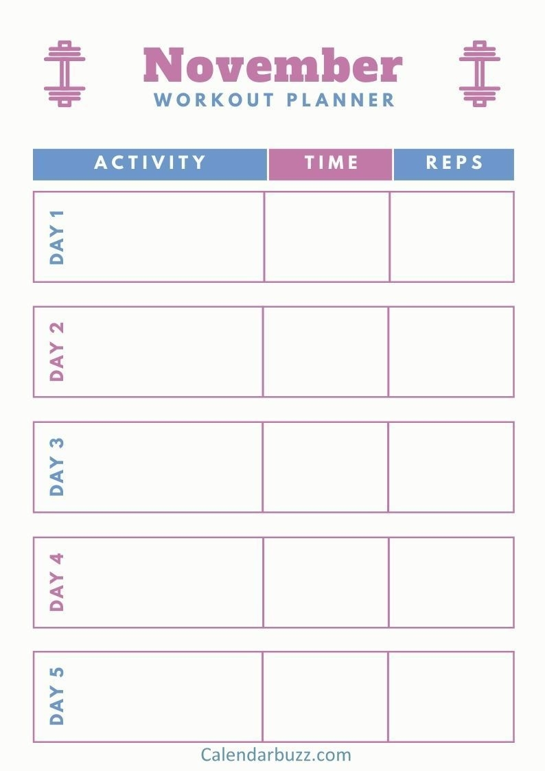 November 2019 Printable Daily, Weekly, Monthly Planners Apex 5 Calendar Template
