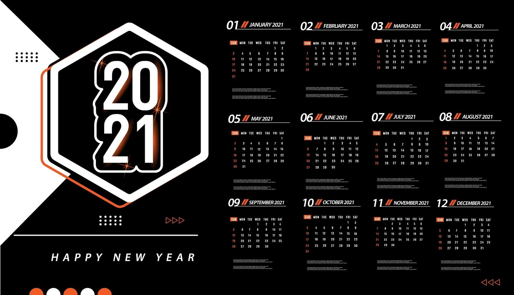 One Page 2021 Calendar Template - Download Free Vectors Free Calendar Background Templates