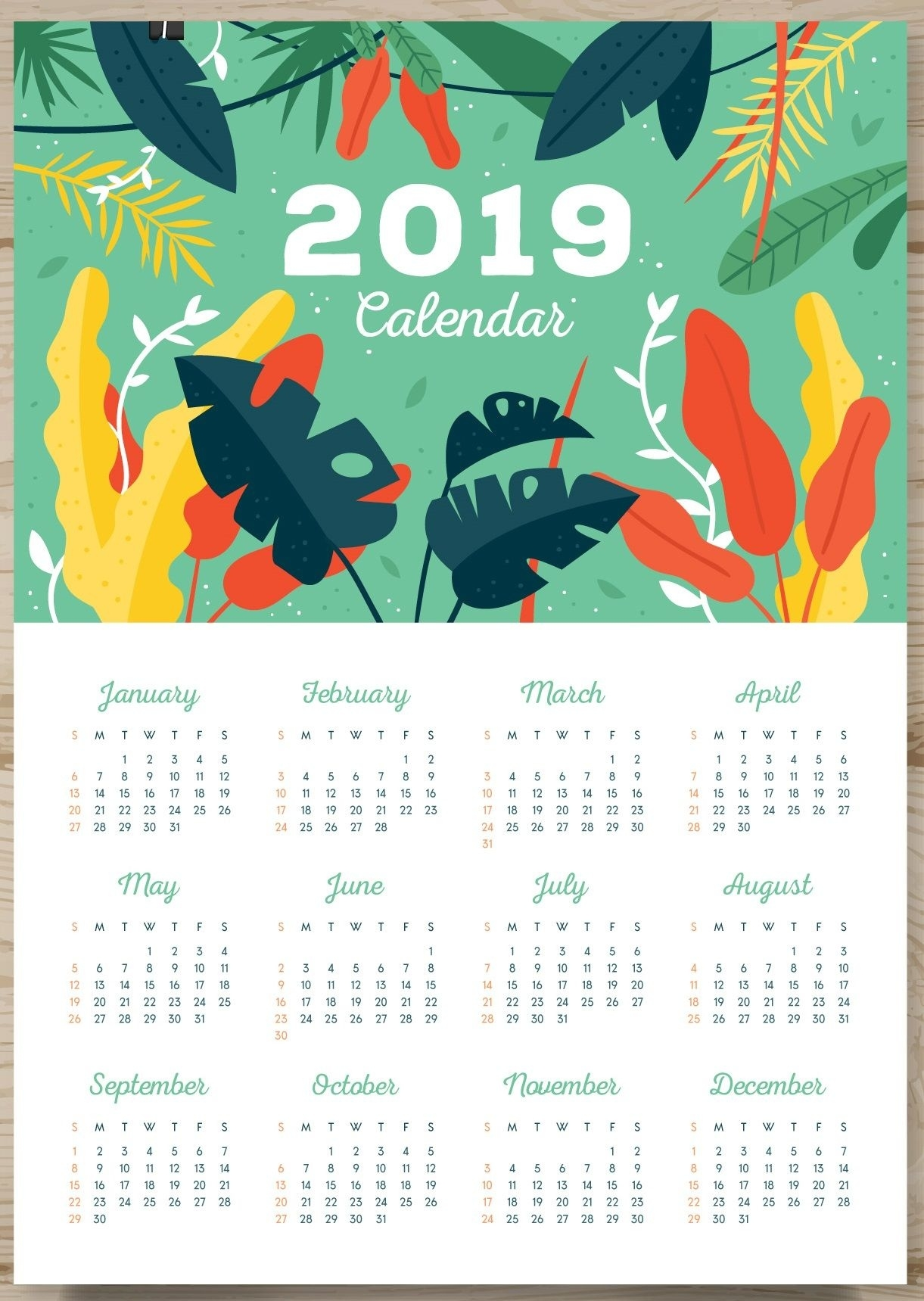 One Page Calendar 2019 | Print Calendar, Calendar Design 1 Page Calendar Template