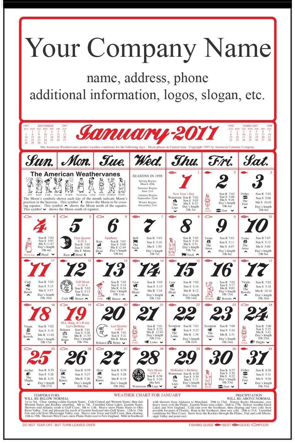 Original Almanac Calendar Old Fashioned (With Ad-A11)Farmers,Gardens And  Helpful Hints Zodiac Calendar Farmers Almanac