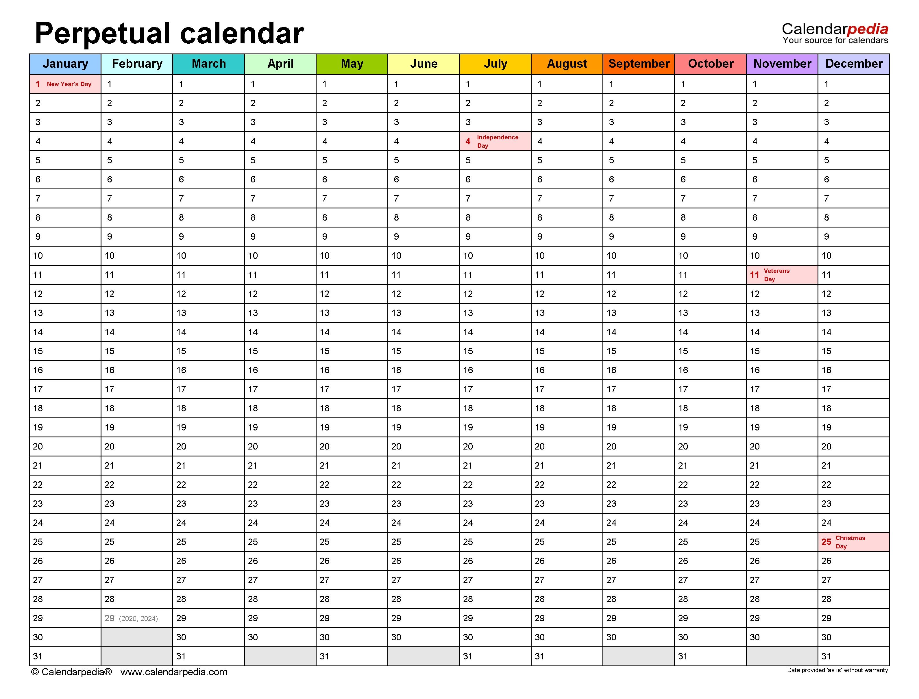 Perpetual Calendars - Free Printable Microsoft Excel Templates 5 Year Calendar Template Excel
