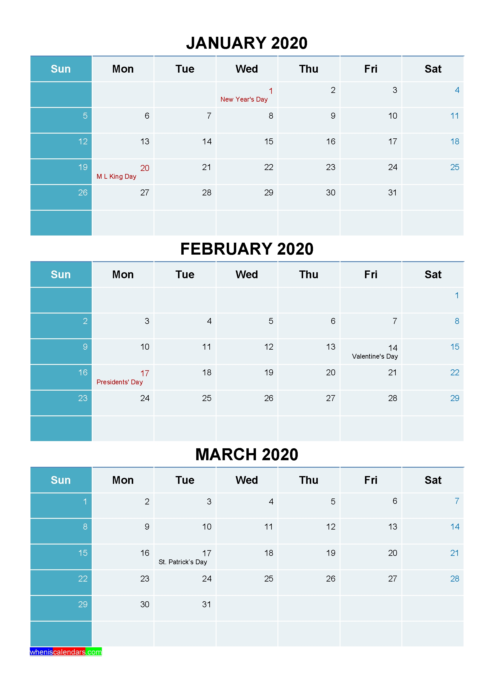 Plan For A Successful 2020 With Printable Calendar 2020 | By 3 Month Calendar 2021