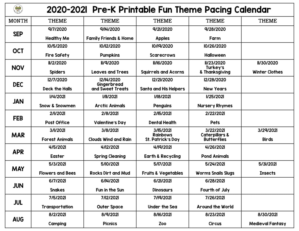Plan Preschool Themes For A Year - Pre-K Printable Fun Pre K Calendar Template