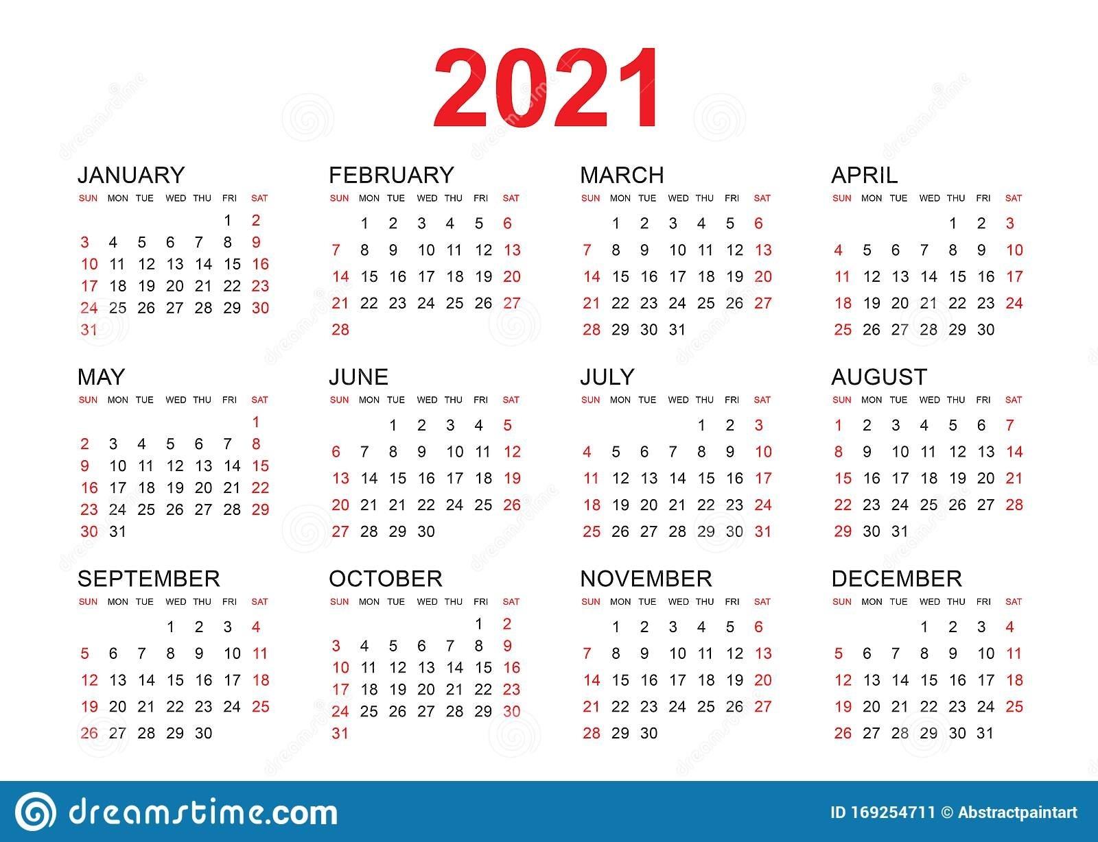 Plantilla Vectorial De Calendario 2021, Diseño Simple Mínimo Calendario 2021 Con Semanas