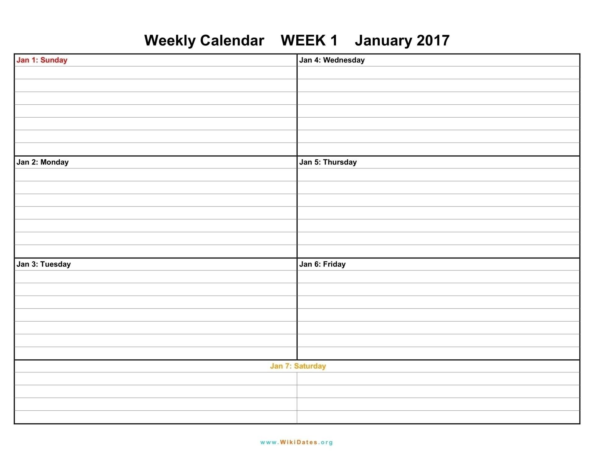 Print 4 Week Calendar | Blank Weekly Calendar, Weekly Calendar Template 4 Weeks