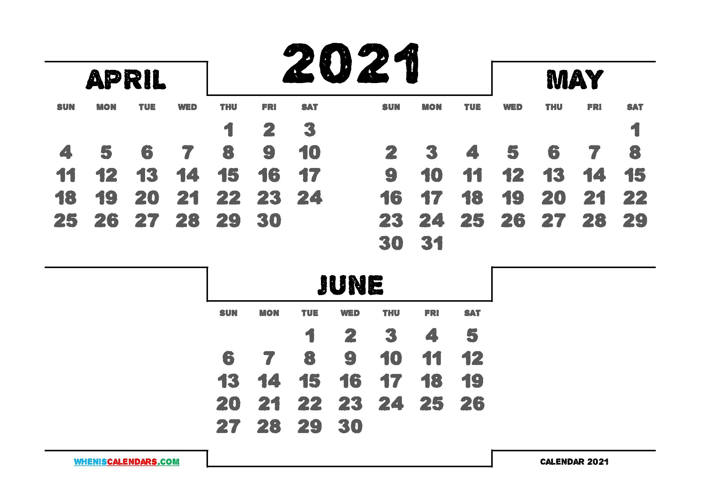 Printable April May June 2021 Calendar | 3 Month Calendar 3 Month Calendar 2021
