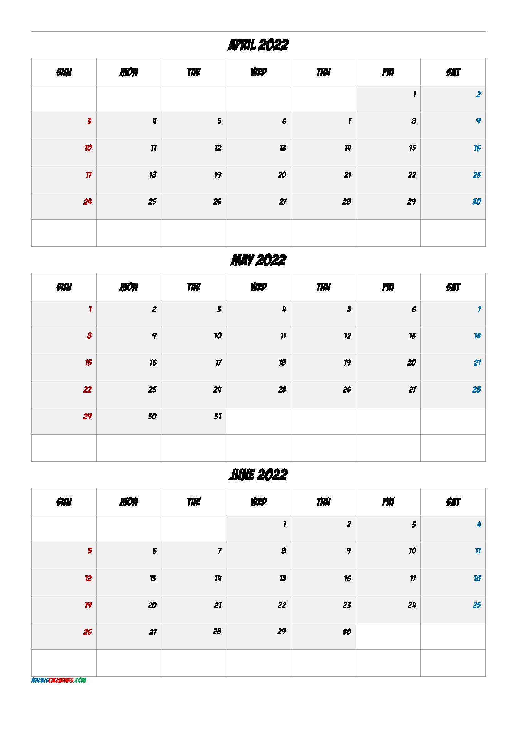 Printable Calendar April May June 2022 [Q1-Q2-Q3-Q4 Q4 Calendar 2021