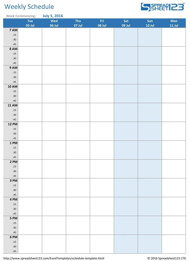 Printable Weekly And Biweekly Schedule Templates For Excel 1 Week Calendar Template Excel