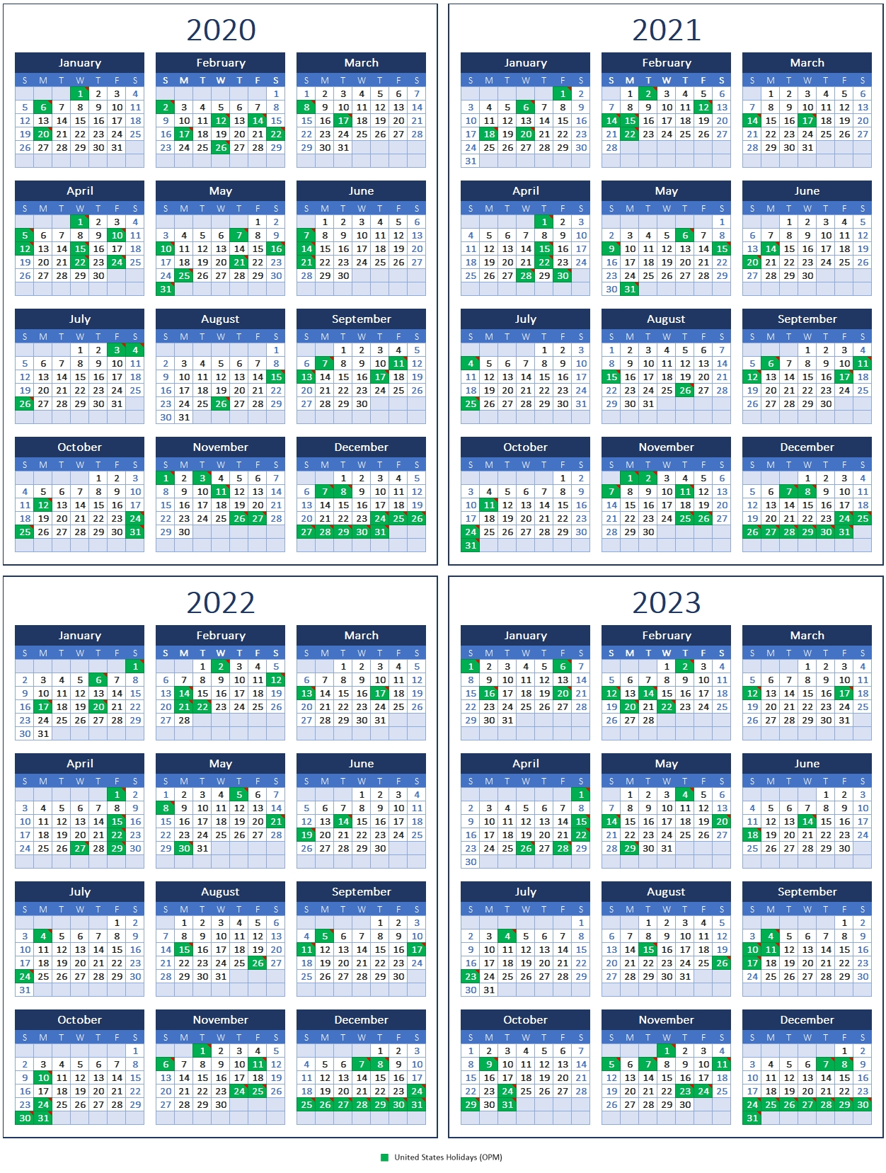 Printablecal | 4 Years/Page Template Calendar 4 4 5 Template