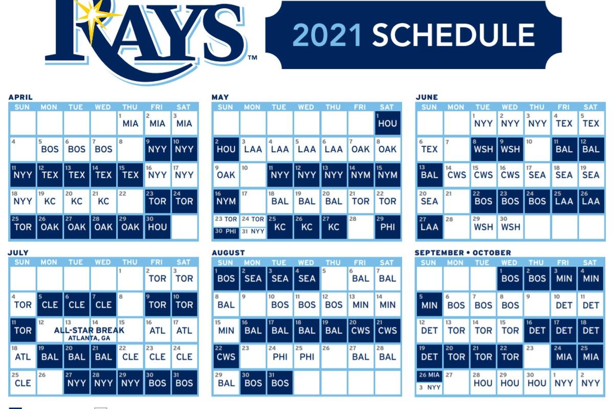 Rays Release 2021 Regular Season Schedule - Draysbay Atlanta Braves Printable Schedule Calendar 2021