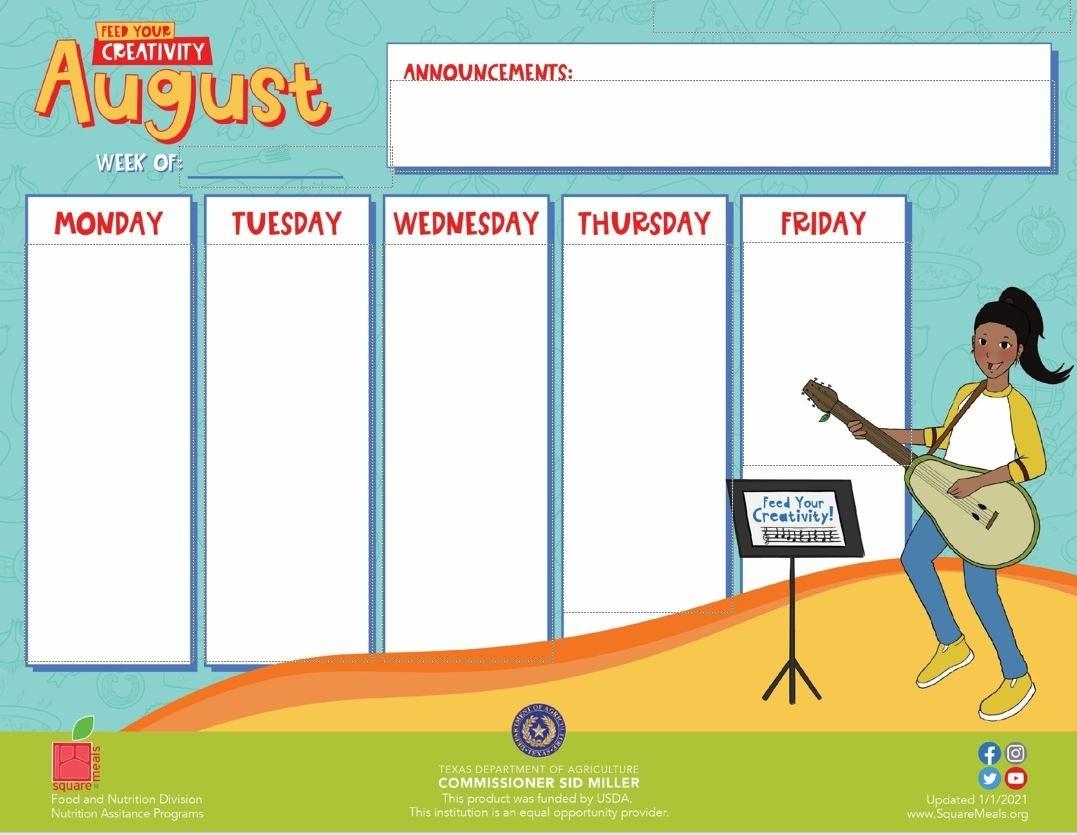 Resources F&N Menu Calendar Templates