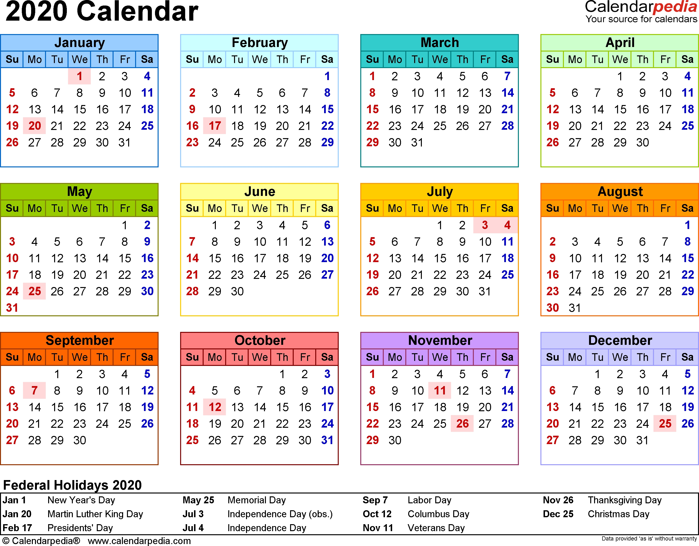 Template 8: 2020 Calendar For Word, Year At A Glance, 1 Page Calendar 4 4 5 Template