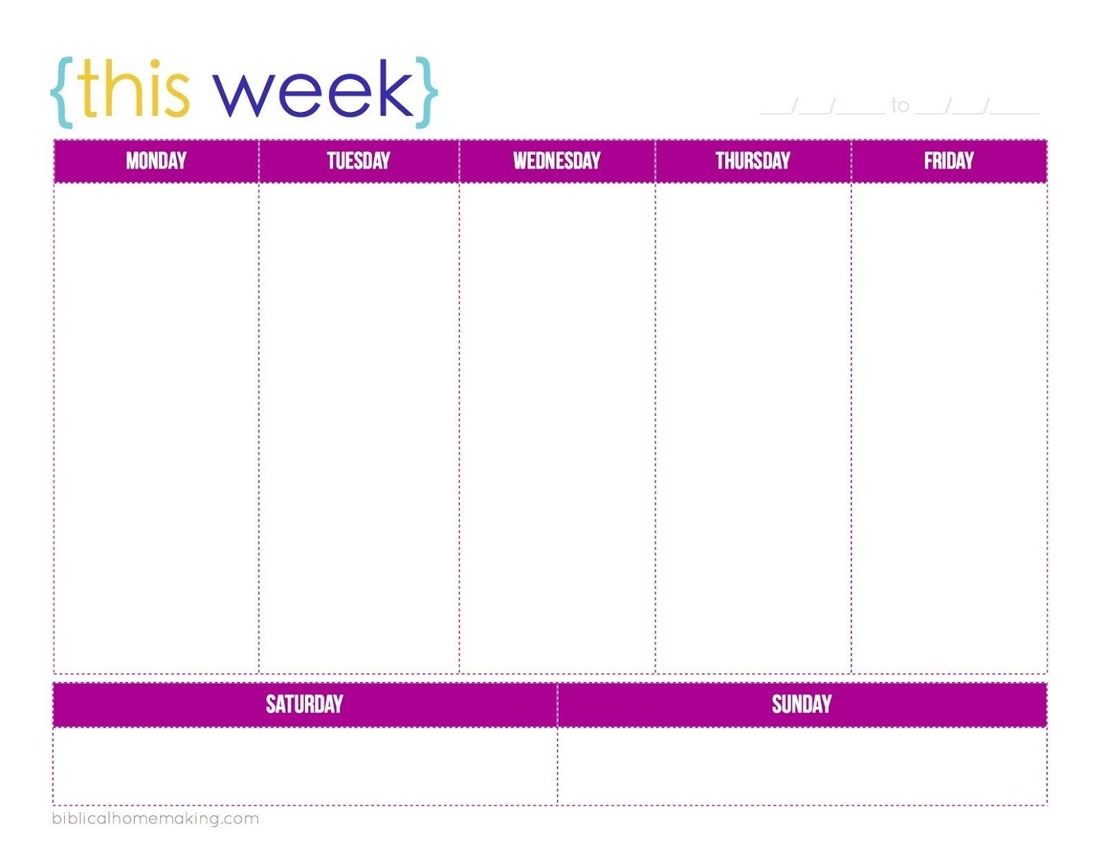 This Week A Free Weekly Planner Printable Biblical Calendar Template One Week
