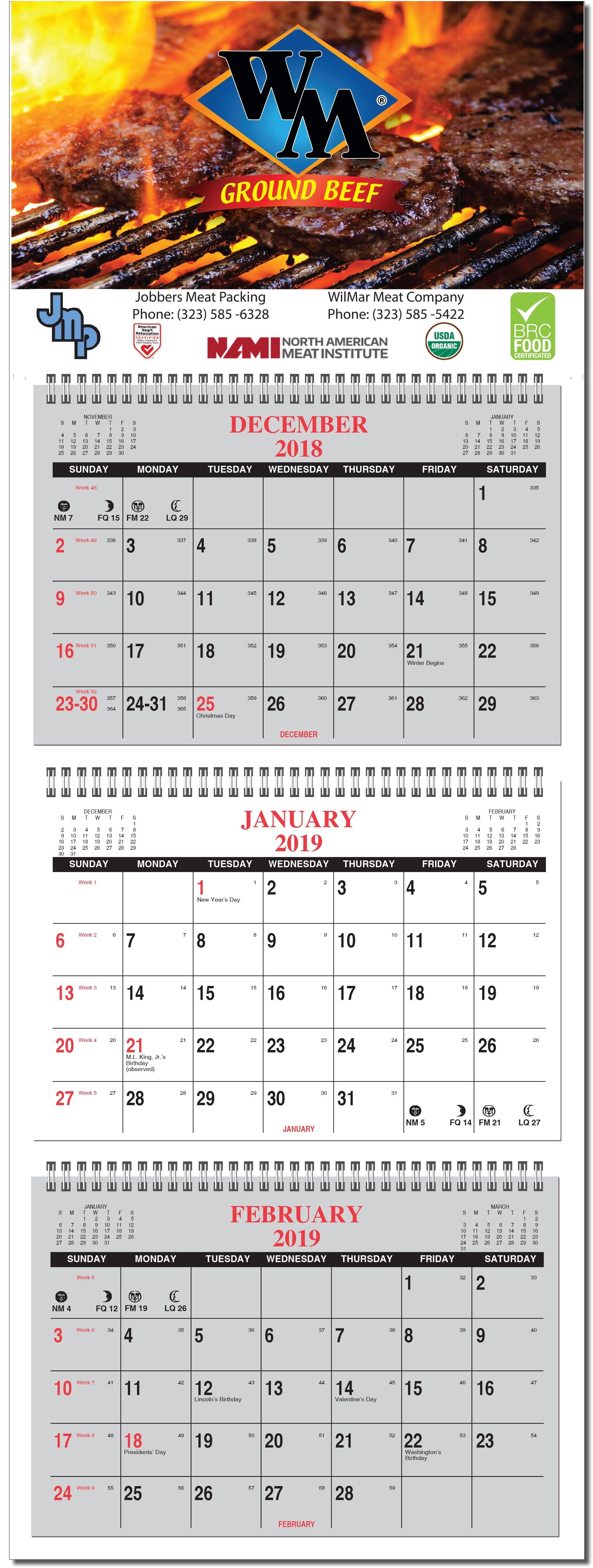 Three Month Calendar With Custom Imprint 3 Month Calendar 2021