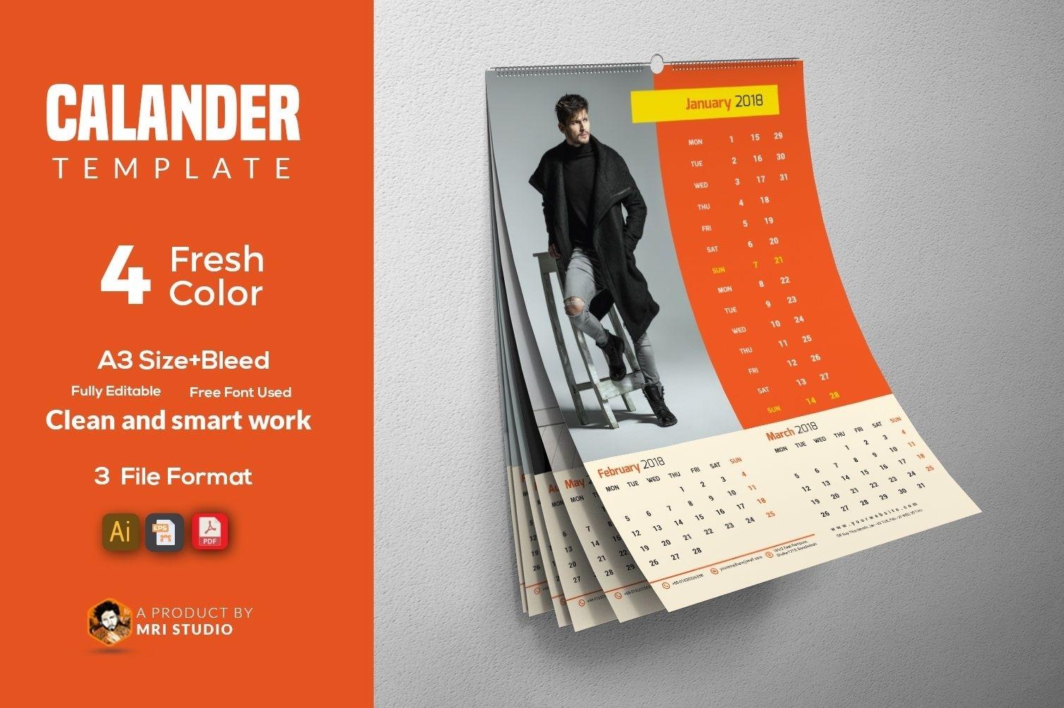 Wall Calander Template | Modern Calendar, Stationery Calendar Template Graphic Design