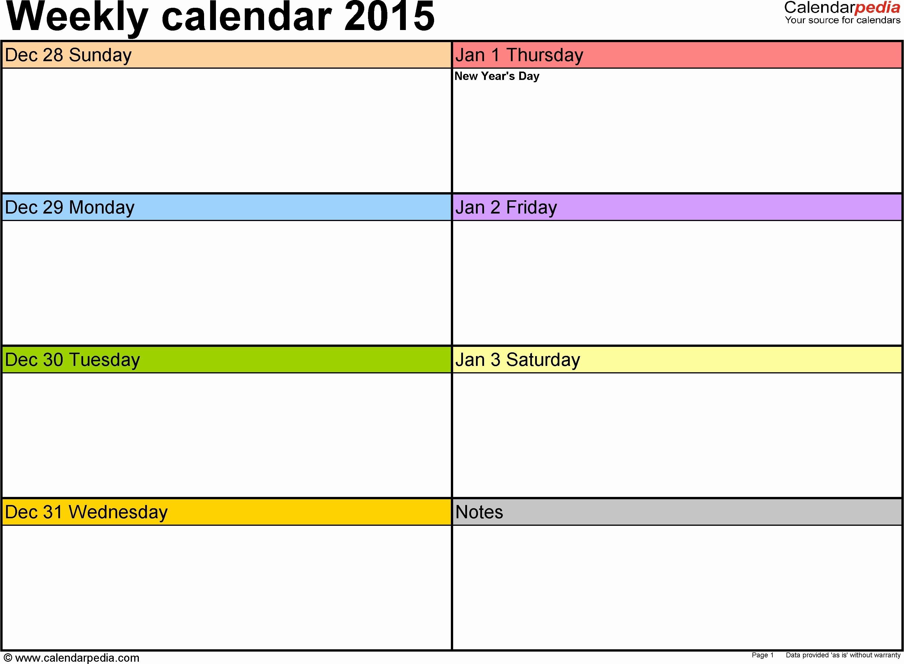 Week Schedule Template Excel New Weekly Calendar 2015 For 1 Week Calendar Template Excel