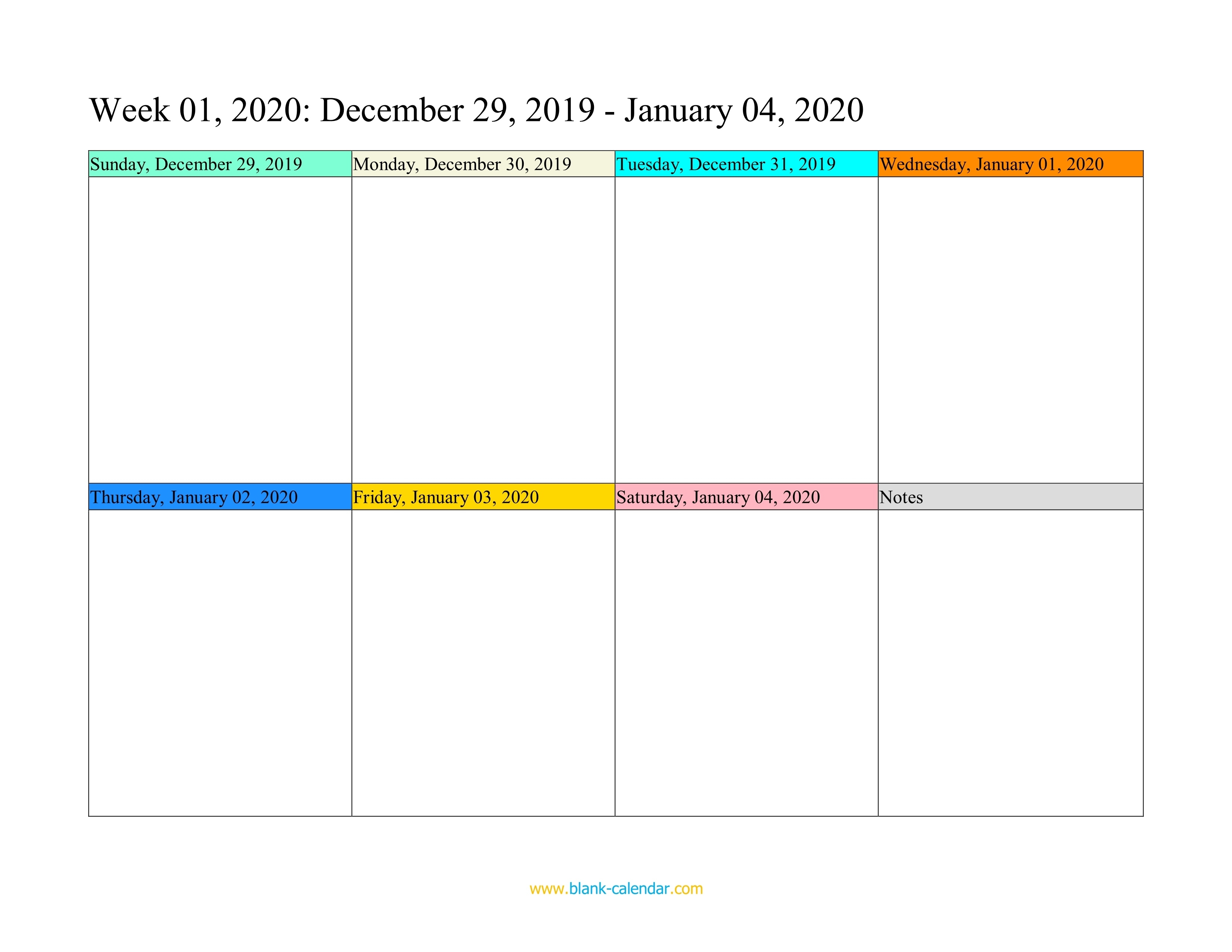 Weekly Calendar 2020 (Word, Excel, Pdf) Calendar Template One Week