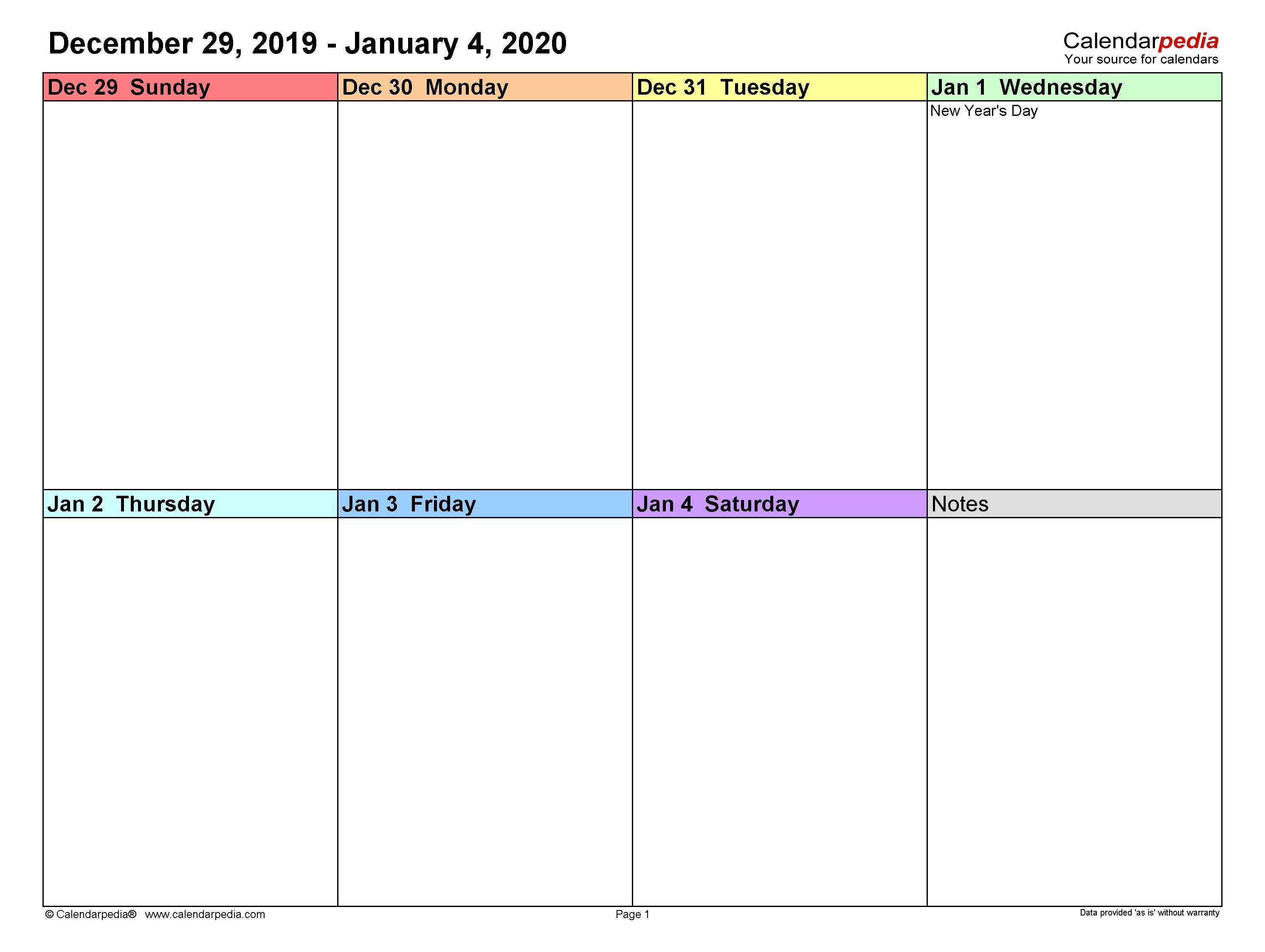 Weekly Calendars 2020 For Word - 12 Free Printable Templates Calendar Template One Week