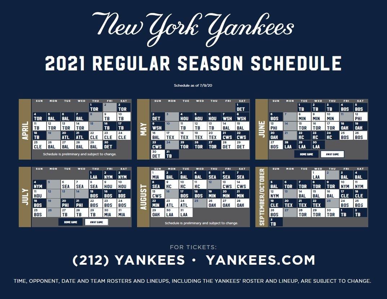 Yankees Release 2021 Schedule - Pinstriped Prospects Atlanta Braves Printable Schedule Calendar 2021