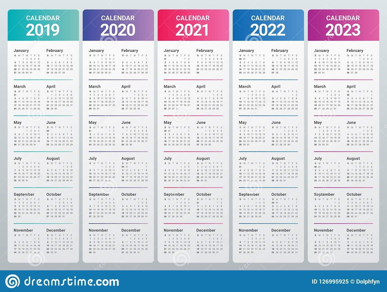 Year 2019 2020 2021 2022 2023 Calendar Vector Design 5 Year Calendar Template