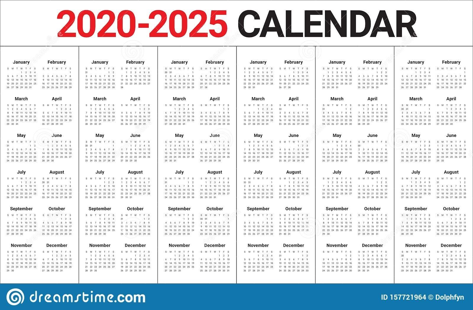 Year 2020 2021 2022 2023 2024 2025 Calendar Vector Design 5 Year Calendar Template
