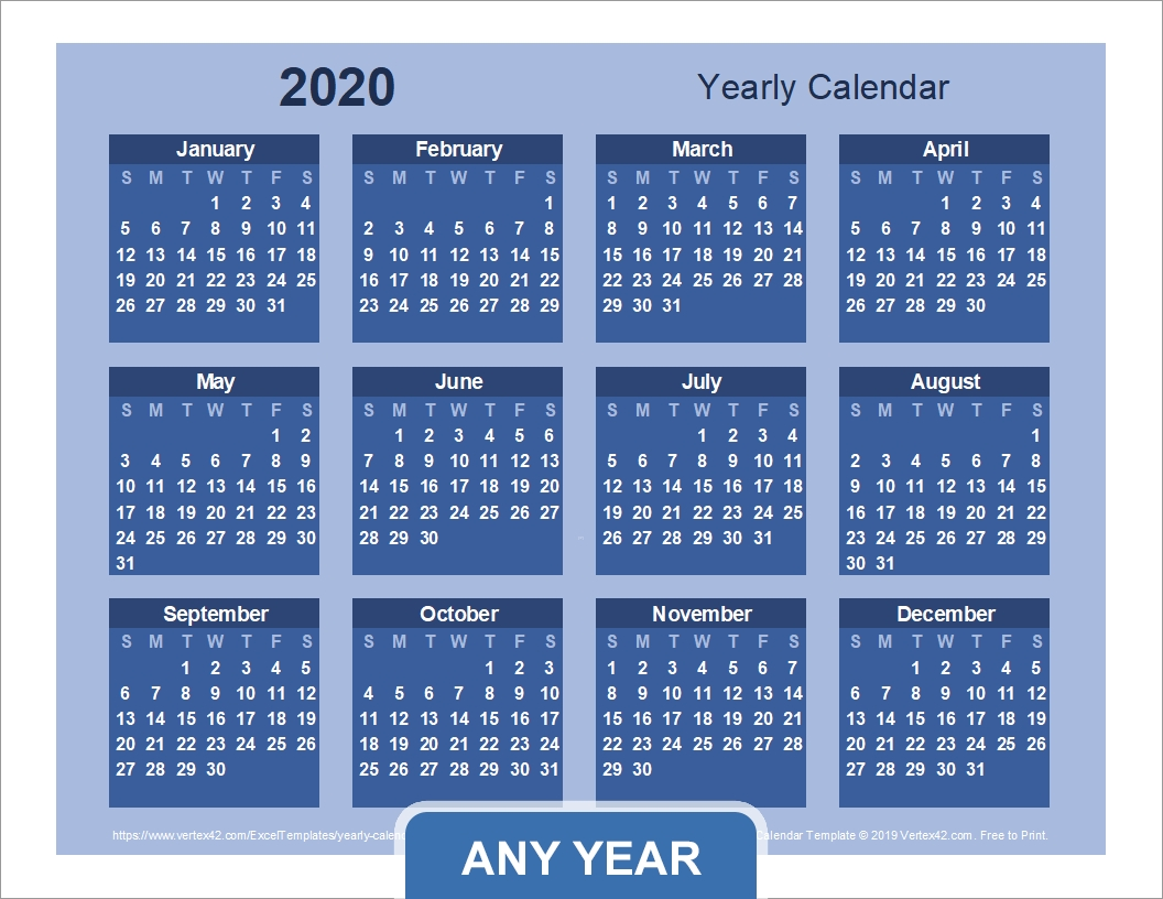 Yearly Calendar Template For 2021 And Beyond 5 Year Calendar Template Excel