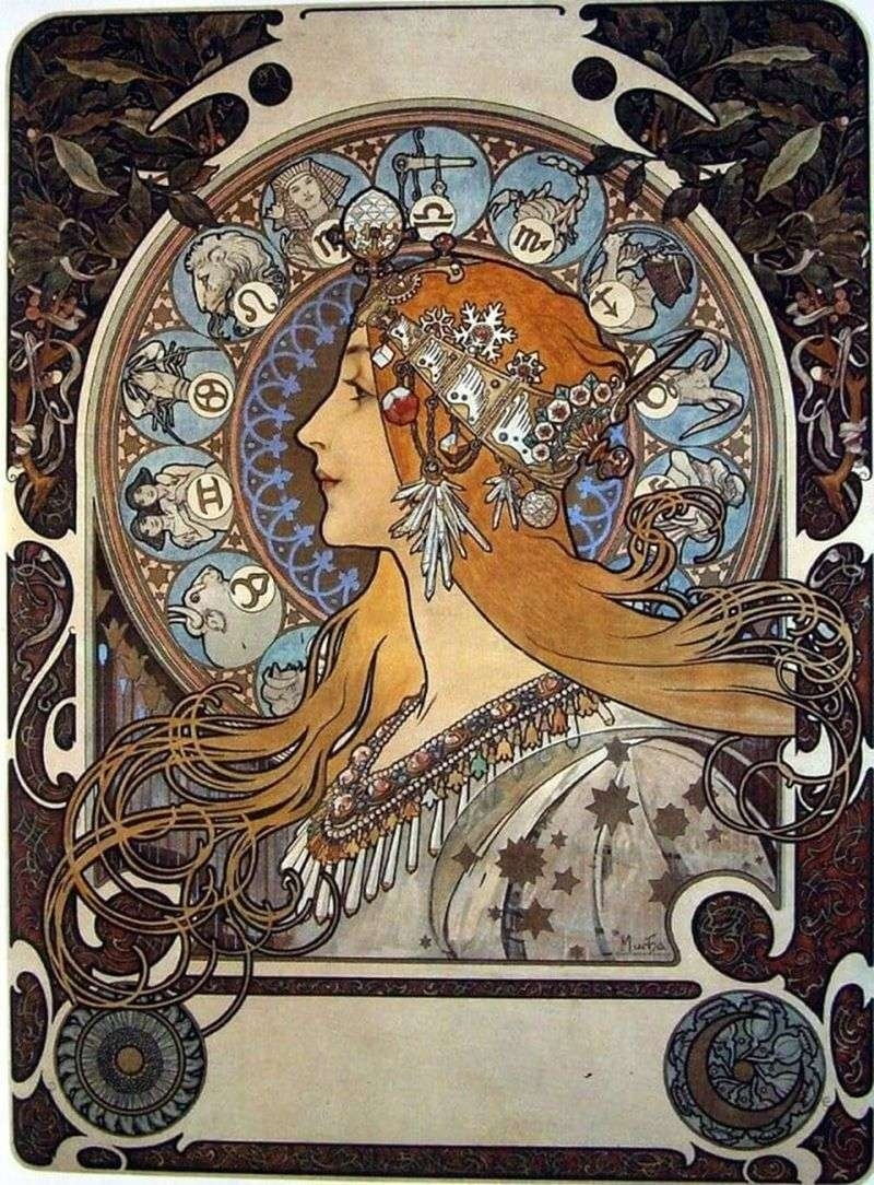 Zodiac By Alphonse Mucha Zodiac Calendar By Alphonse Mucha