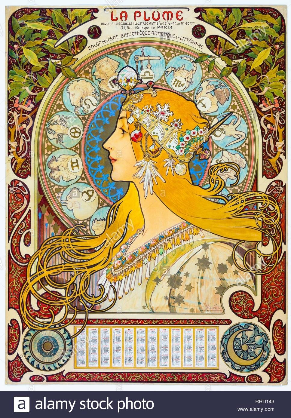 Zodiac (La Plume) 1896-1897, Alphonse Mucha, Art Nouveau Zodiac Calendar By Alphonse Mucha