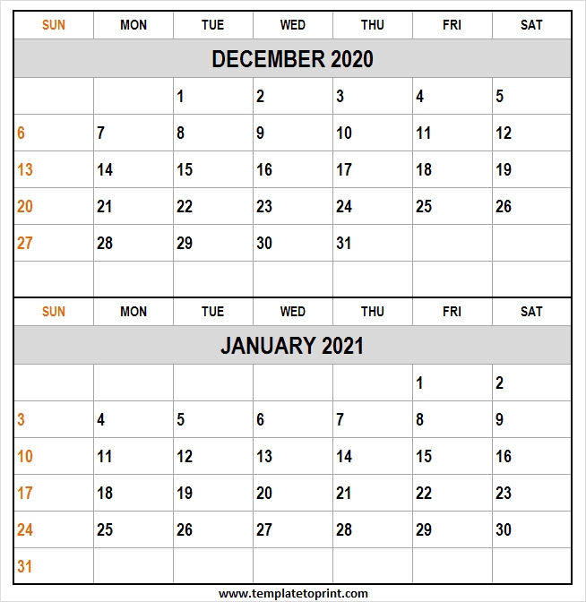 2020 December 2021 January Calendar Excel - Editable Calendar 2020 January Thru December 2021 Calendar