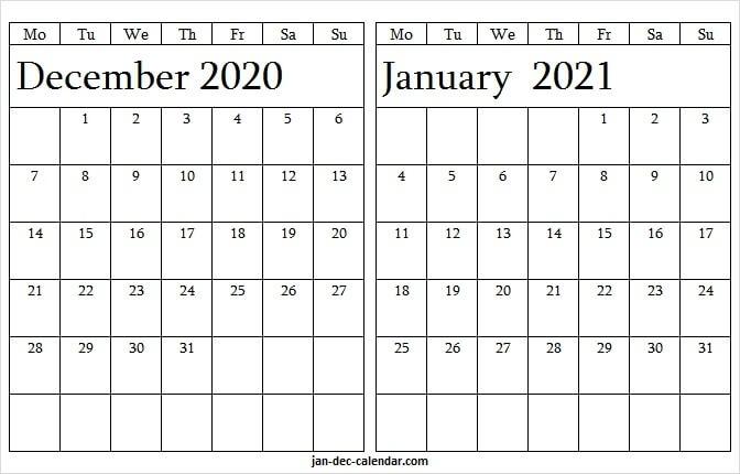 2020 December 2021 January Calendar Free - Printable Calendar 2020 December 2020 January 2021 Calendar Printable