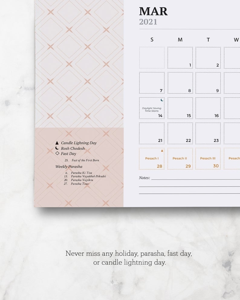 2021 American Jewish Printable Calendar Jewish Holidays And | Etsy Hebrew Calendar November 2021
