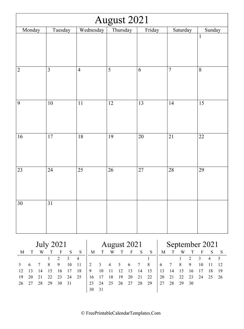 2021 August Calendar Printable (Vertical) July 2021 Vertical Calendar