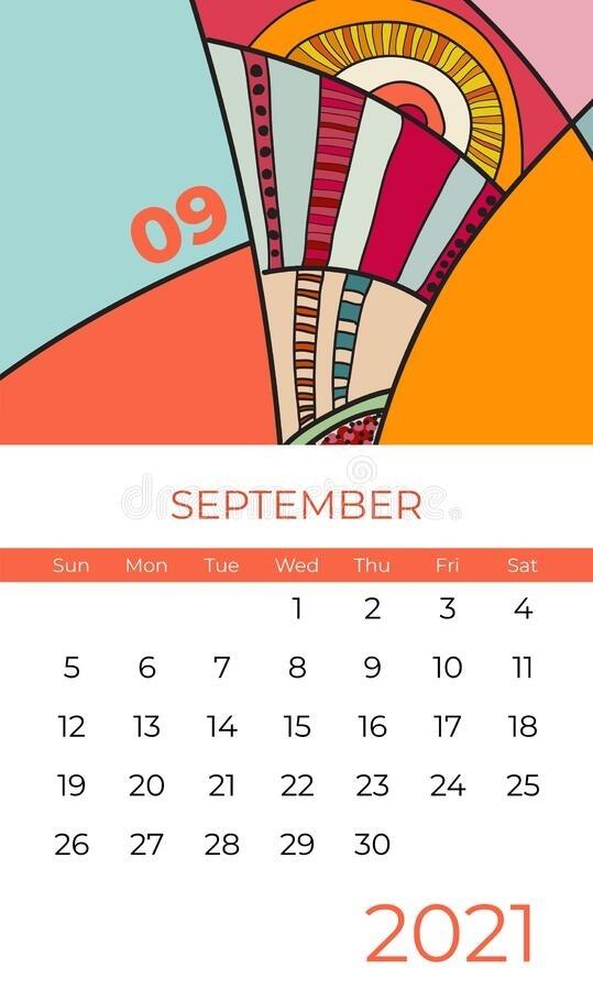 2021 Calendar Abstract Contemporary Art Vector Set. Desk, Screen, Desktop Months 2021, Colorful June 2021 Calendar Clipart