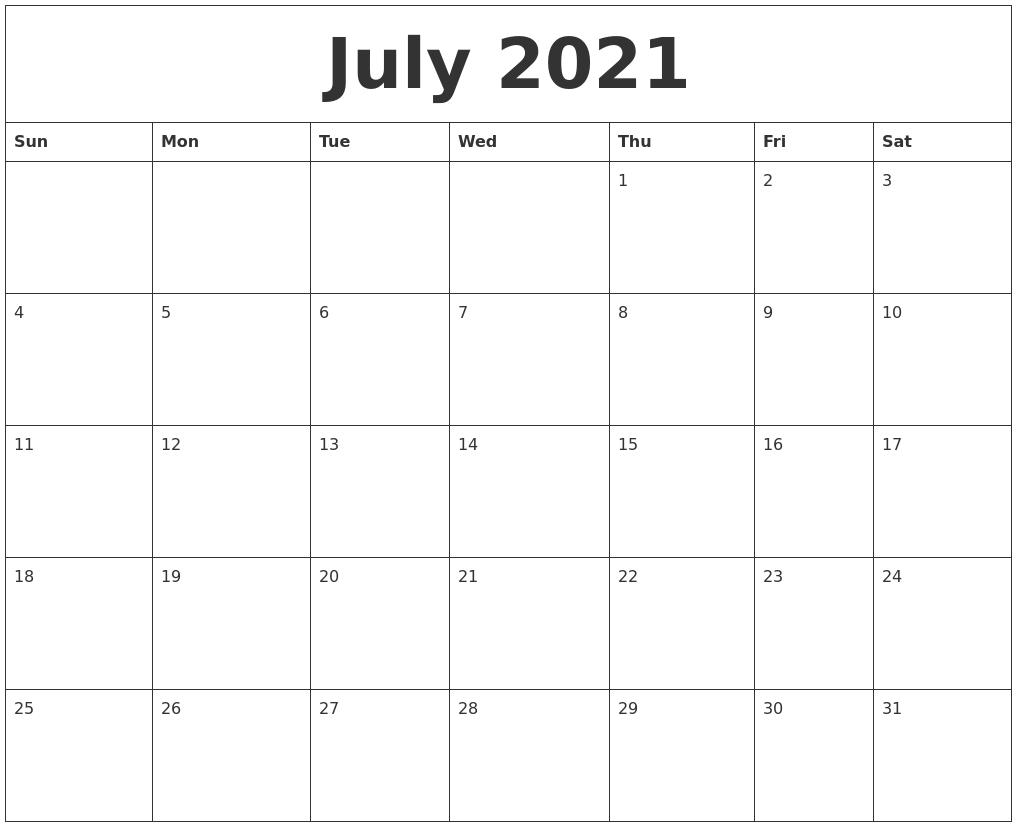 2021 Calendar Fillable July | Avnitasoni July 2021 Calendar Word