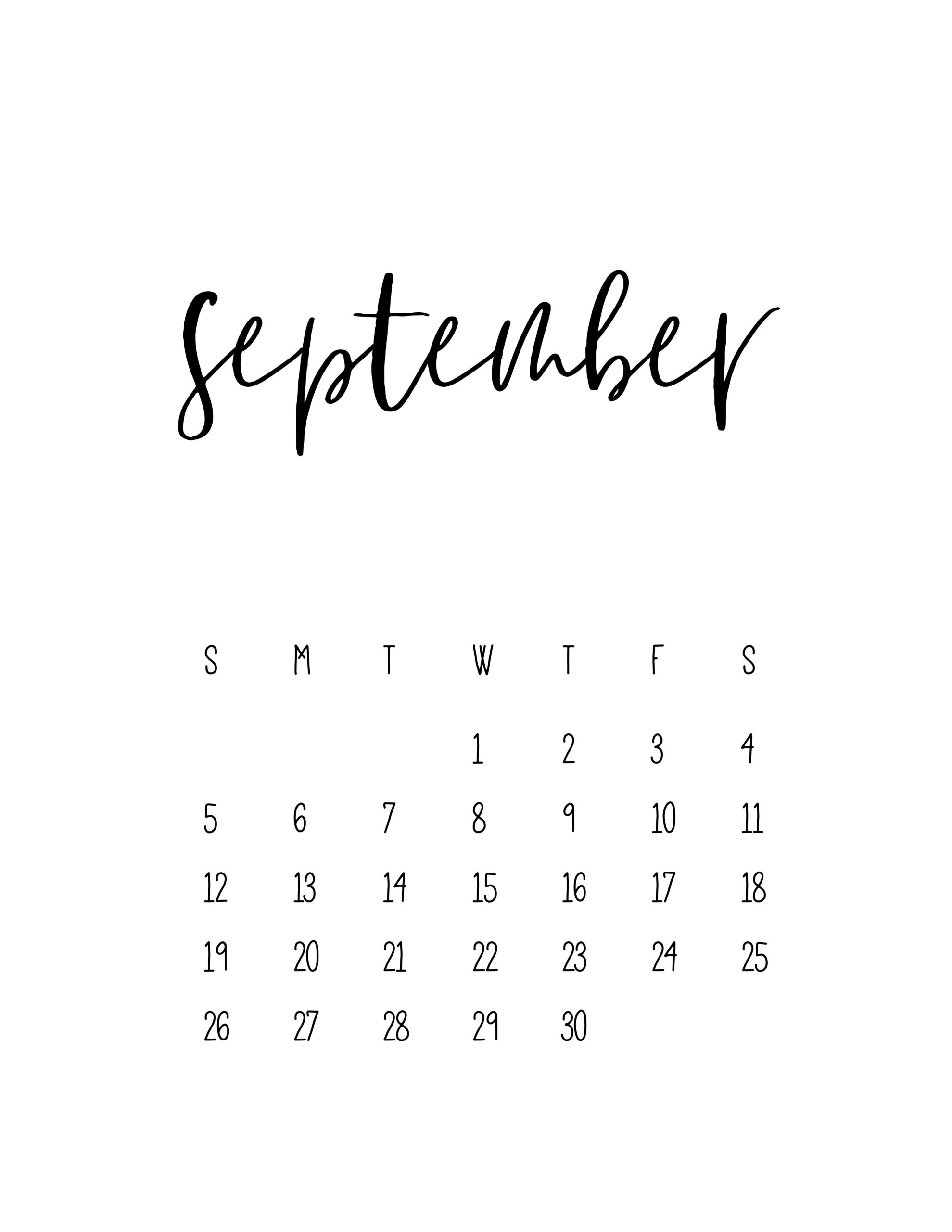 2021 Calendar Free Printable Template - World Of Printables Printable September 2021 Calendar