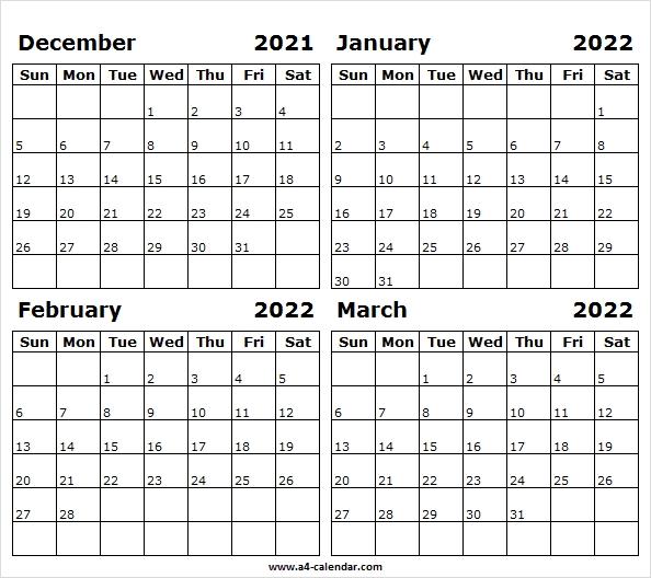 2021 December To 2022 March Calendar A4 - 2021 Calendar Dec Excel December 2021 And January 2022 Calendar