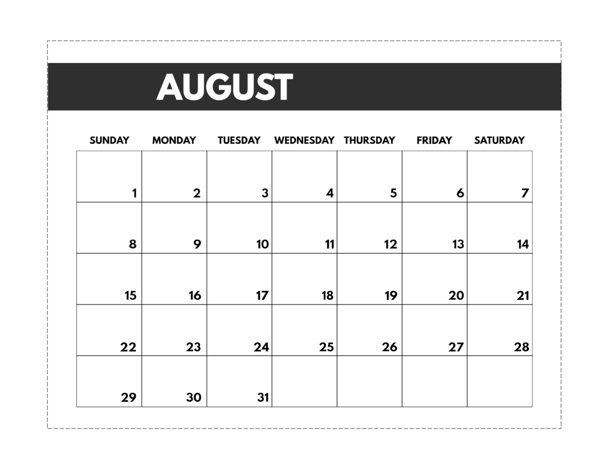 2021 Free Monthly Calendar Templates   Paper Trail Design Printable Calendar June July August 2021
