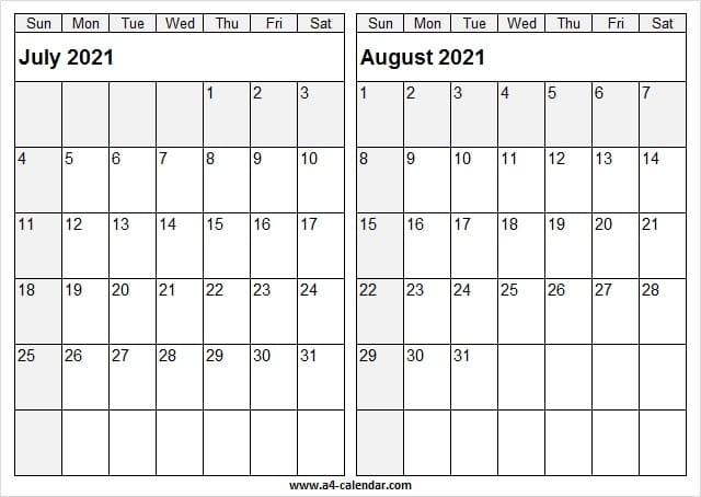 2021 Jul Aug Calendar A4 Size - July 2021 Calendar With Notes July 2021 Calendar Vertical