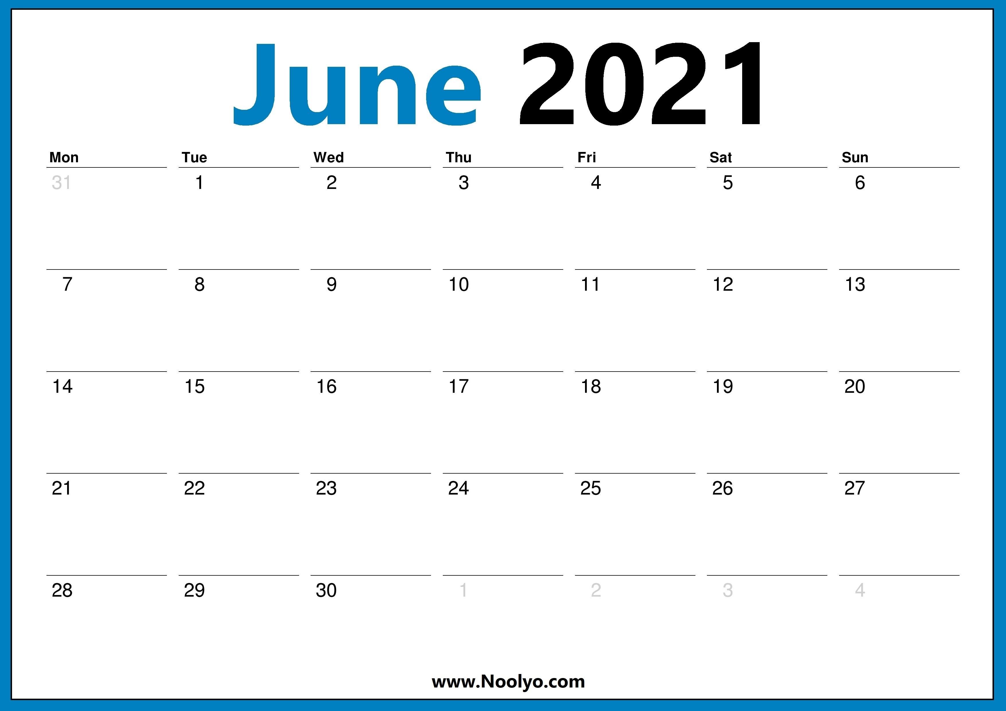 2021 June Calendar Monday Start Calendar Free Downloads - Noolyo June 2020 To June 2021 Calendar Printable