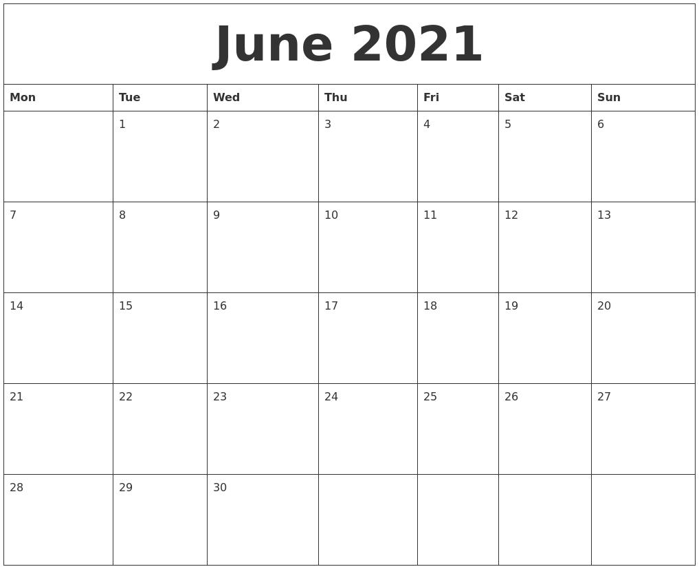 2021 June Printable Calendar   2021 Printable Calendars June 2021 Calendar Panchang