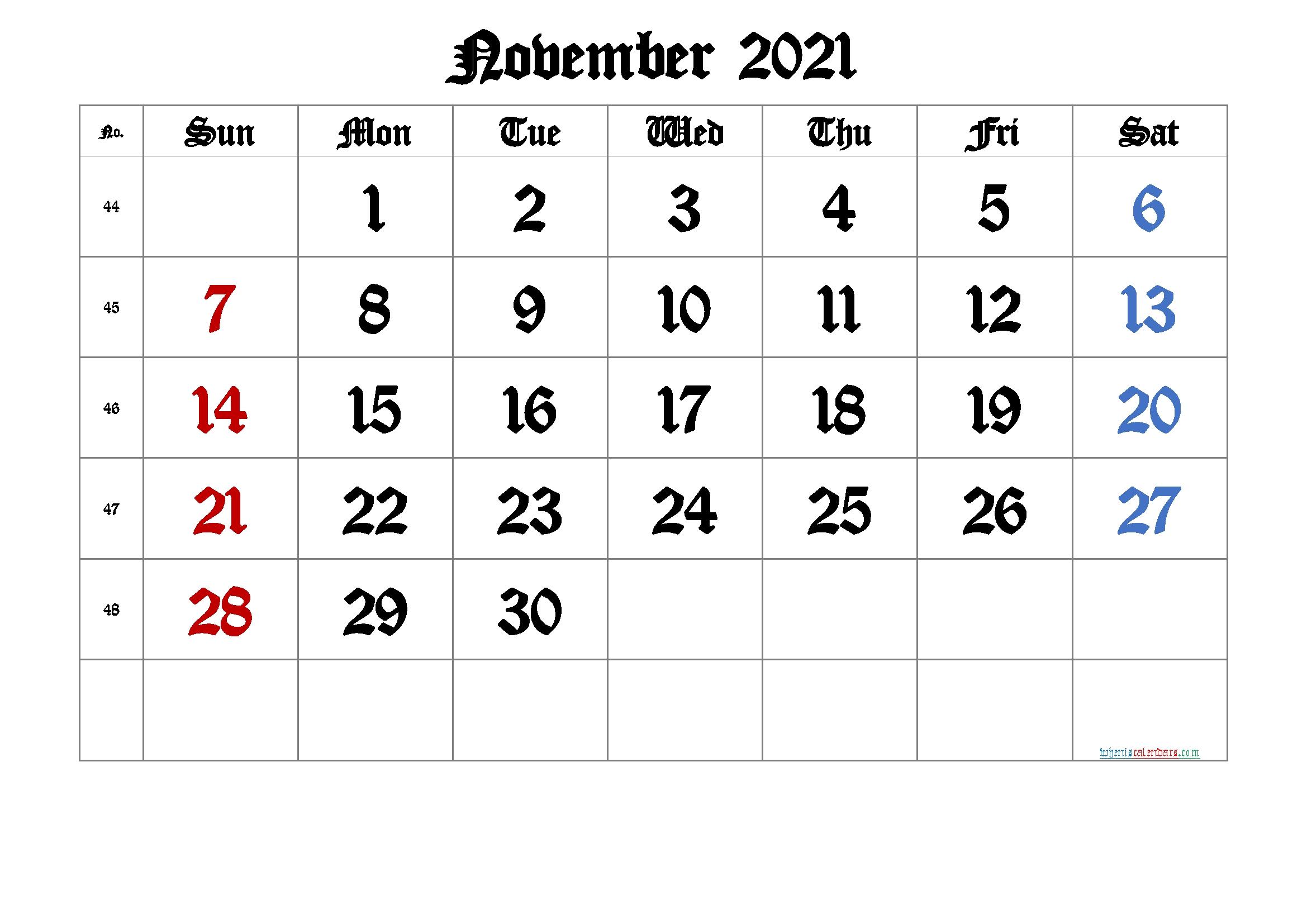 2021 November Free Printable Calendar [Free Premium] Free November 2021 Calendar