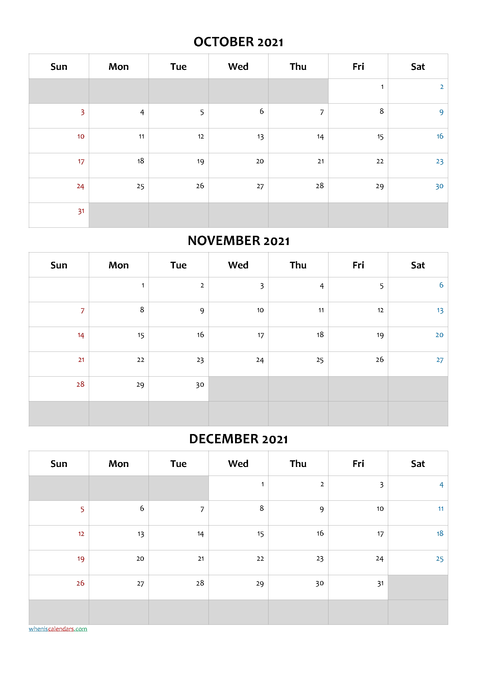2021 Printable Calendar From October Thru December   Calendar Printables Free Blank January Thru December 2021 Calendar