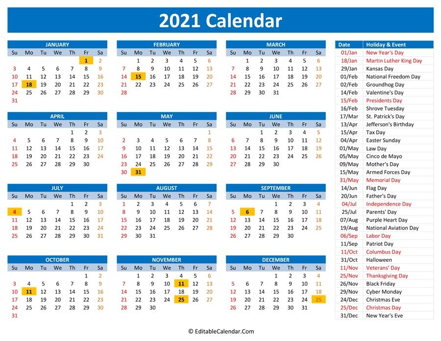 2021 Printable Calendar With Holidays General Blue October 2021 Calendar
