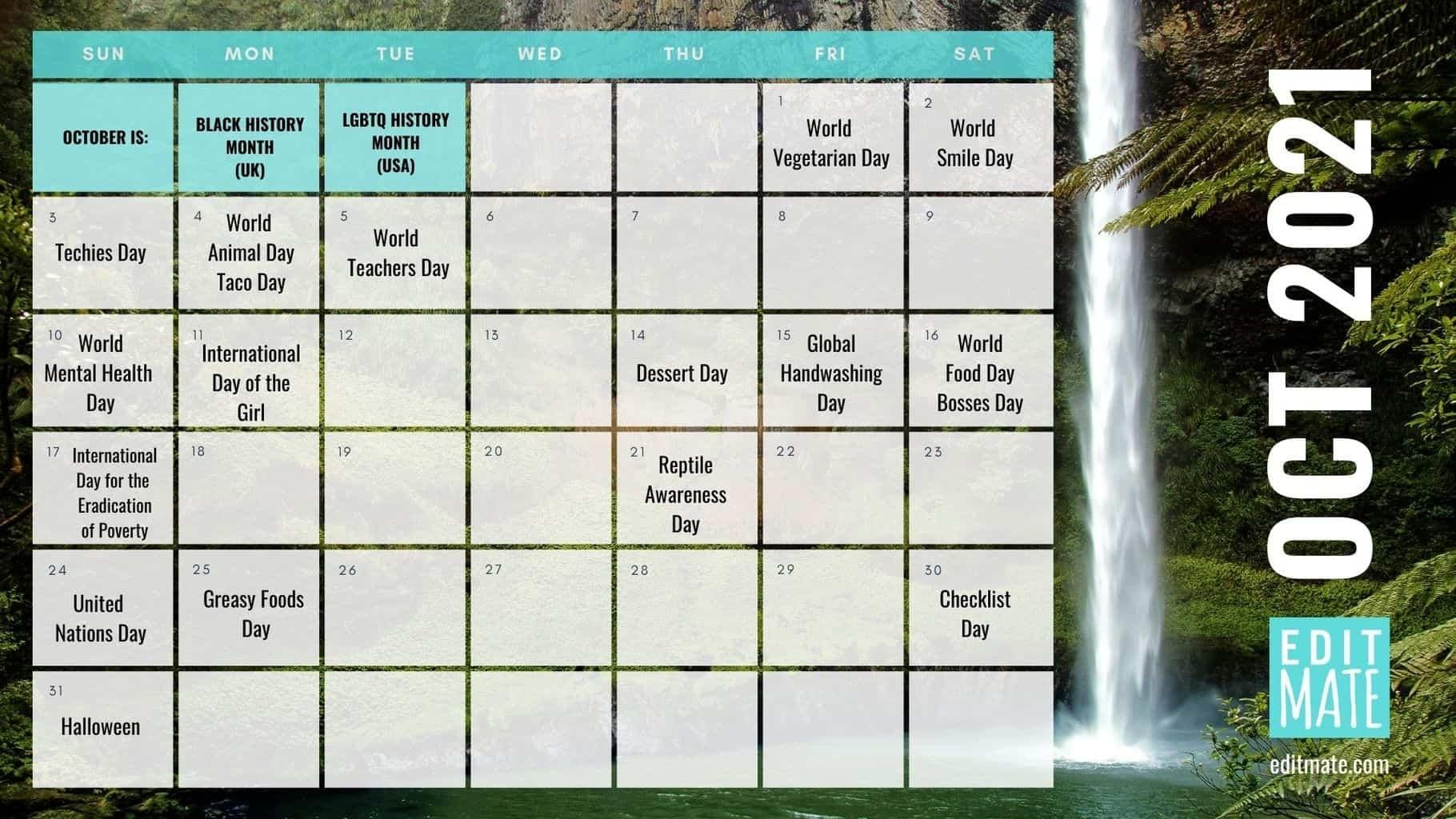 2021 Social Media Holiday Calendar | Editmate National Calendar October 2021